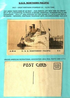 Ww1 Us Troop Ships A-R-A Collection 8 Postcards Fine & Rare