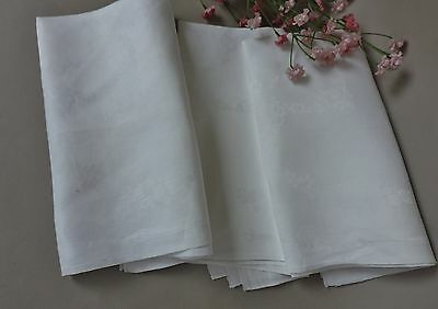 Vintage French style  Damask tablecloth roses & basket with fruit lot of 3