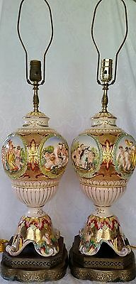 Pair Antique Capodimonte Porcelain Figural Table Lamp Signed And Numbered 31""