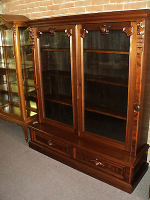 Walnut Victorian Renaissance 2 Door Bookcse