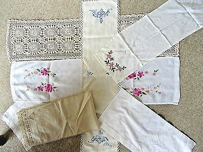 Mixed Lot 7 X Vintage Runners Embroidered, Lace Edged, Crochet