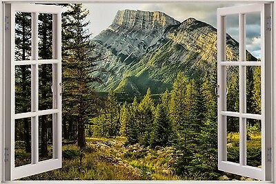 3D Effect Window View Tree Nature Forest Road Sticker Wall Poster Vinyl GA1-150