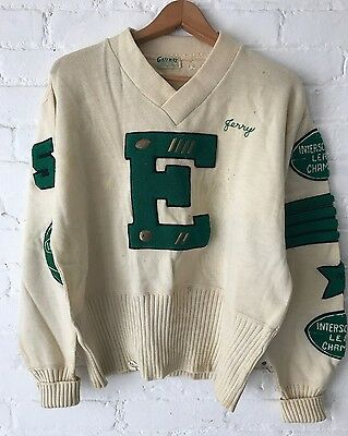 VTG 50's Varsity Letterman Sweater Pullover V Neck Patched Long Cuff Award Wool