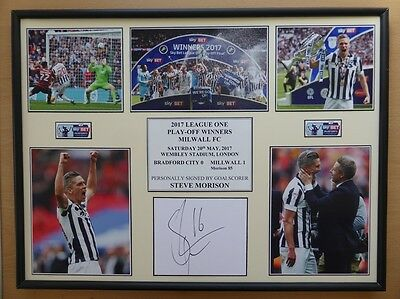 2016-17 Millwall Play-Off Winners Display Signed by Steve Morison (10641)