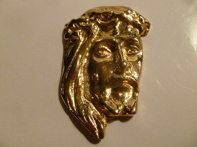 Vintage 18Ct Gold Plated? Item In The Form Of The Head Of Jesus. 5Cms By 3.5Cms.