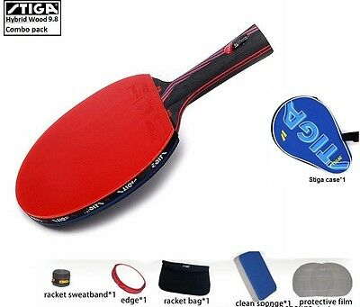 STIGA Carbon Hybrid Wood 9.8 Table tennis racket Ping Pong Butterfly DHS + Combo