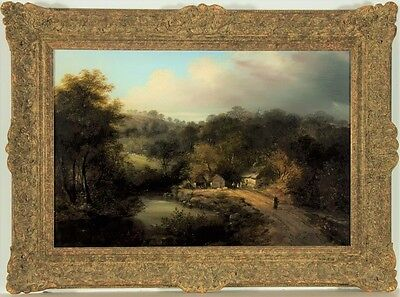 Manner of William Stone Snr - Superb 19th Century Oil, River Scene with Figures