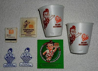 Original Bob's Big Boy 2 Cups,Tea Bag,2 FRIDGE MAGNET, Matchbook,Free Hamburger