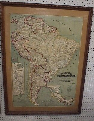"""VTG Rare Relief Map of South America 48"""" X 33"""" Wooden Frame Atlas School Supply"""