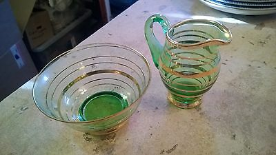 Vintage Green & Gold Glass Sugar Bowl and Milk Jug Tableware 1970's RETRO COOL!