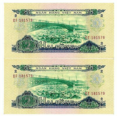 South Vietnam ... P-41 ... 2 Dong ... 1966(1975) ... CH*XF*  Consecutive Pair.