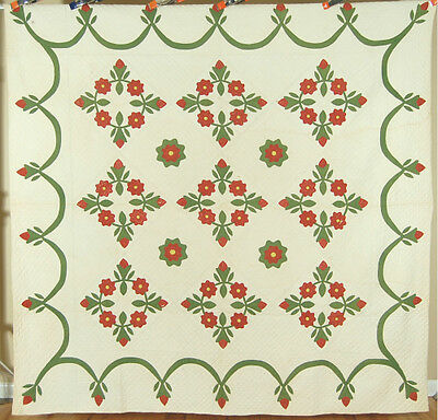 Large Vintage 1850's Red & Green President's Wreath Antique Quilt ~Swag Border!