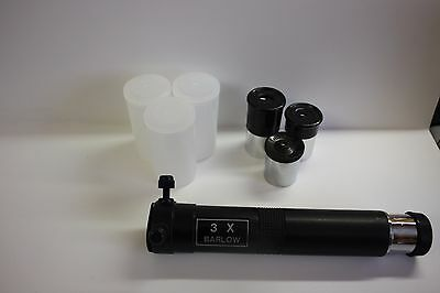 "Telescope .965"" Size Three Eyepiece & Barlow Kit 6mm 12.5MM 20mm 3X barlow NEW!"