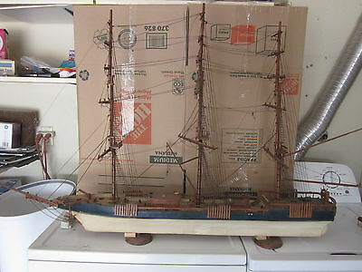 """ANTIQUE LARGE WOODEN SHIP MODEL  50"""" LONG, 40"""" X 5 1/2"""" Hull, 33"""" TALL"""