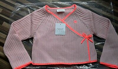 �� Baby Girls**next**pink Wrap Over Cardigan**12-18 Months**bnwt**