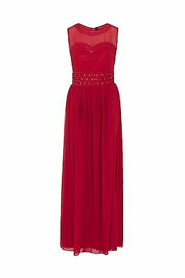 NEW Red Maxi Dress wedding Dress Embellished Bridesmaid Party Gown SIZE 14