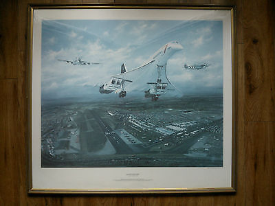 Vintage 1986 Large Framed Print of Concorde from a Painting by Peter R Westacott