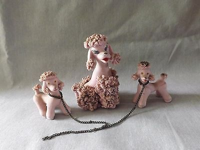 VINTAGE 50'S PINK SPAGHETTI POODLE DOG with 2 PUPPIES CHAIN LEASH