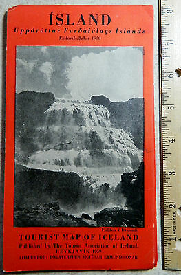 Vintage 1950 Icelandair folding map of Iceland 30 x 33 inches No Reserve