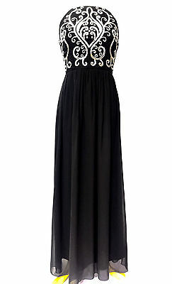 NEW Black Maxi Dress Wedding Dress Embellished Bridesmaid Party Gown SIZE 14