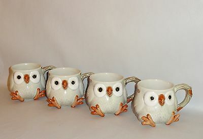 VINTAGE Mid Century Fitz and Floyd OWL COFFEE TEA CUPS MUGS Set of 4 1978