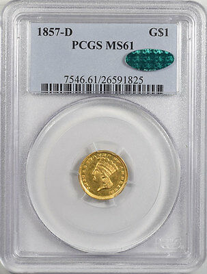 1857-D $1.00 Gold Ty 3, Pcgs Ms-61, Cac, Rare, Fresh & Pq! -From The Reeded Edge