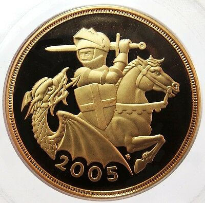 2005 Gold Great Britain 2 Pounds St. George Dragon Coin Pcgs Proof 69 Deep Cameo