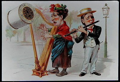 J 7 P COATS Victorian Trade Card 1890 CALENDAR (Backside) Woman /Harp Man/ Flute