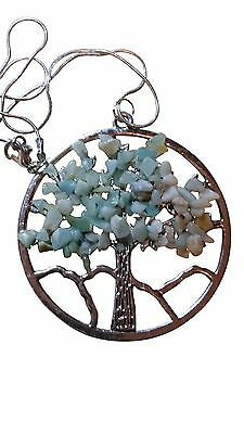 Natural Amazonite tree of life pendant / necklace & pendant green gemstone pagan