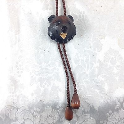 Hand Carved Bear Bolo Tie Wood Wooden Ainu Products Japan