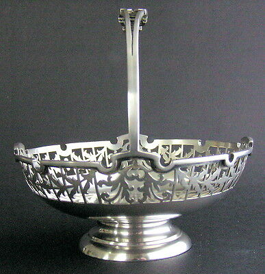 c1925 English Solid Sterling Silver Cut Pierced Candy Basket Mappin & Webb