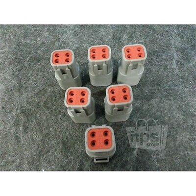 Lot of 6 Deutsch Electrical Connector Fits 16 AWG 4 Pin