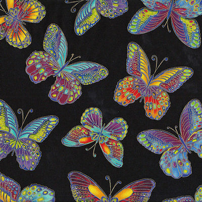 Colourful Butterflies on Black Quilting Fabric FQ or Metre *New*