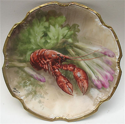 "ANTIQUE 19c. LIMOGES HAND PAINTED 8 5/8"" PLATE. SIGNED DUBOIS. LOBSTER MOTIF"