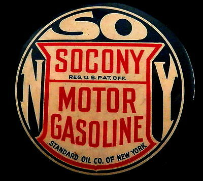 Antique SOCONY MOTOR GASOLINE  Standard Oil NY Dealer Advertising Pocket Mirror