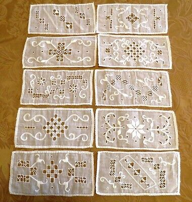 Antique Trim Applique Inserts Linen Embroidered Panels Whitework Embroidery