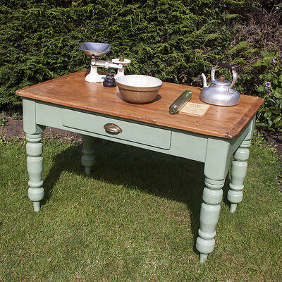 Beautiful Upcycled Victorian Pine Wooden KITCHEN Table & Drawer French Green