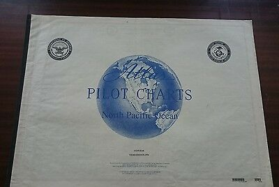 North Pacific Ocean Pilot Chart Weather Information  Rare Collectables