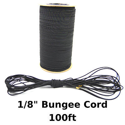 "100ft 1/8"" Black Bungee Cord Marine Grade Heavy Duty Shock Rope Tie Down Stretch"