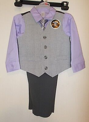 Boys Size 2T George Brand 4-Piece Suit Outfit-Shirt, Tie, Vest, and Pants NWT