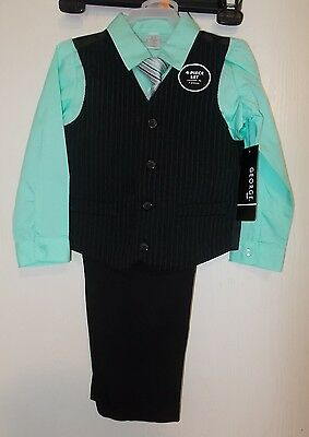 Boys Size 4T George Brand 4-Piece Suit Outfit-Shirt, Tie, Vest, and Pants NWT
