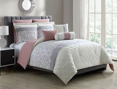 8 Piece Bradlie Gray/Blush Bed in a Bag Set