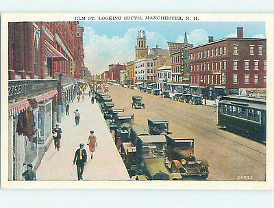 Unused W-Border STREET SCENE Manchester New Hampshire NH hs3274