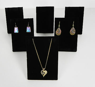 Six Black Velvet Necklace Pendant or Earring Easel Display Stands Stand Displays