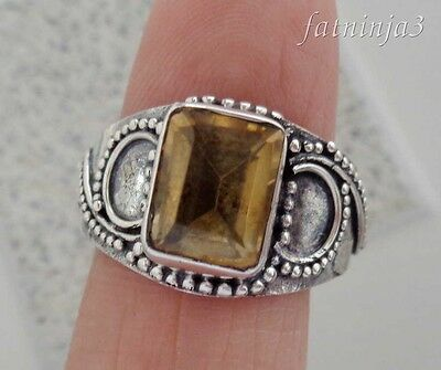 Size 9 (US) Citrine Bali Handcrafted Solid Silver, 925 Ring 36261