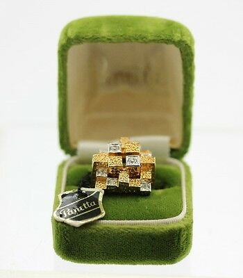 NOS Signed PANETTA Modernist Gold Tone Sterling Silver Ring w/ TAG, BOX Sz 7 BVC