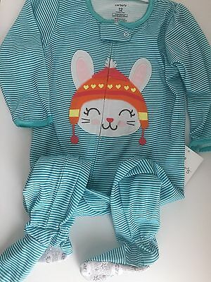 NWT Carter's Blue Striped Bunny Footed Polyester Girl Pajamas New 5T Toddler