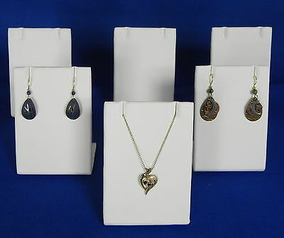 Six White Faux Leather Necklace Pendant or Earring Easel Display Stands Displays