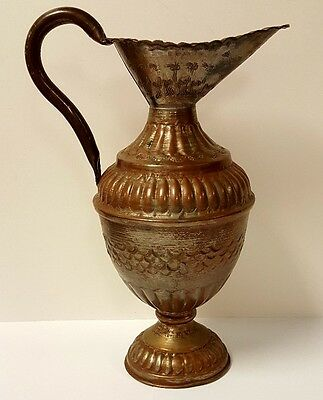 """Gorgeous Vintage Handcrafted Egyptian Pyramid Copper Pitcher, 15"""" Tall"""
