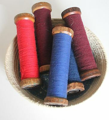 5 Large Antique Thread Spools with Colorful Yarn / Thread
